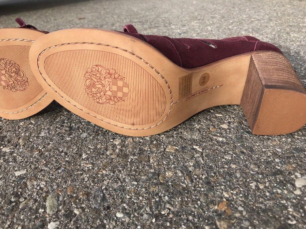 Vince Camuto Zip Tressa Block Heel Sandale Zip Camuto Up Lace Up Deep Sugar Plum 6.5M 02bc19