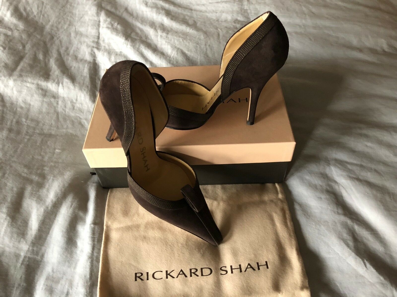 RICKARD SHAH Brown Suede Pointed-toe Slip-on Heels Decorative Loop Size 39