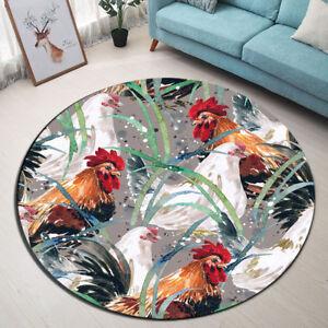 Watercolor Leaves Rooster Hen Round Floor Mat Bedroom Living