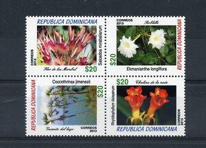 République Dominicaine 2013 Neuf Sans Charnière Fleurs Plantes Flore Bloc 4v-afficher Le Titre D'origine Retarder La SéNilité