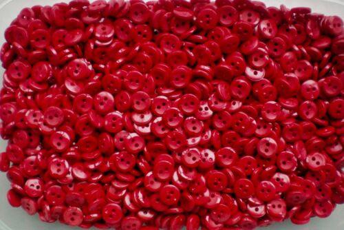 J162 Petit 11 mm 18 L Rouge 2 Trous Poli boutons minuscule Bouton 10 25 50 100