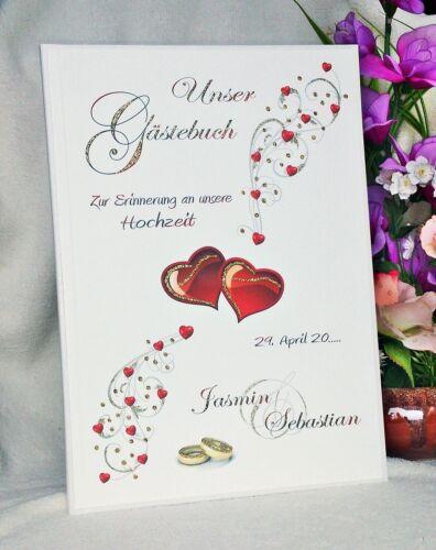 HARDCOVER Gästebuch Gästebücher Hochzeit Glitzer Gold Silber Rote Herzen Ringe