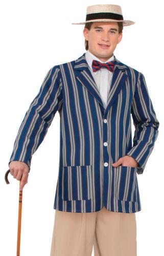 BLUE Boater Giacca LINEA UOMO COSTUME Roaring anni'20 vitorian Vestito Nuovo