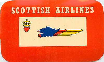 c 1960 SCOTTISH AIRLINES ~SCOTLAND~ Vibrant Old Airline Luggage Label