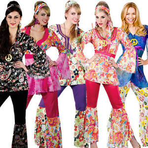876fe13ba9a3 Hippy Flares + Top Outfit 60s-70s Fancy Dress Hippie Adult Ladies ...
