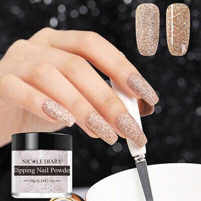 10ml Nicole Diary Gold Glitter Matte Dipping Nail Art Powder Acryli Tips Nd D03 Ebay