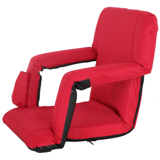 Stadium Chairs With Backs.Folding Stadium Seat Red Bleacher Chair W Padded Backs Cushion Bottle Pocket