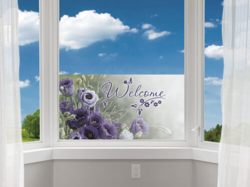 Sichtschutz Folie Sichtschutzfolie für Flur Schriftzug Welcome Blumen Blüten