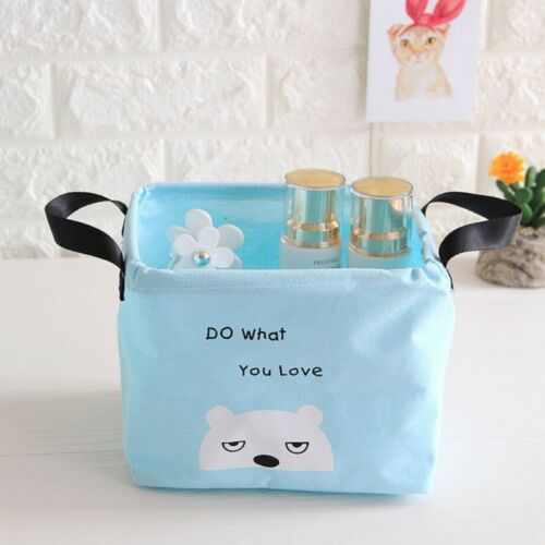 UK Foldable Cotton Linen Storage Laundry Basket Case Home Clothes Box Organizer