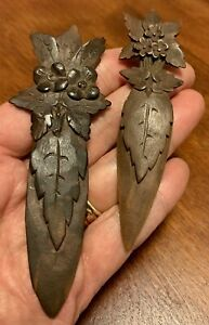 Antique Carved Wooden Flowers Leaves Black Forest PAIR Bookmarks