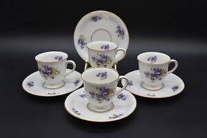 (4) Eschenbach Bavarian Purple Violets & Gold Demitasse Cup & Saucer Sets (P589)