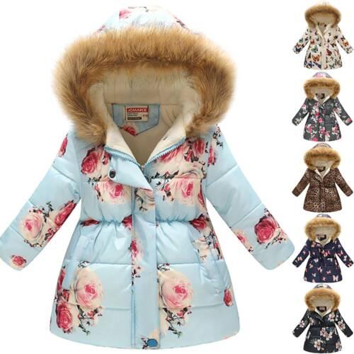 Girl Kids Hooded Warm Coat Padded Floral Jacket Parka Winter Hoodie Outwear Tops
