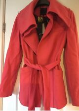Ted Baker Size 3 Uk 12 Coral Pink Open Neck Belted Wool Coat RRP £189