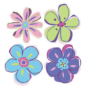 Doodle flowers pink purple green blue 25 wallies flower stickers image is loading doodle flowers pink purple green blue 25 wallies mightylinksfo
