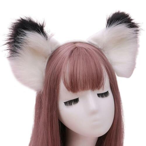 Large Furry Cat Ears Headband Contrast Color Fluffy Animal Cosplay Hair Hoop