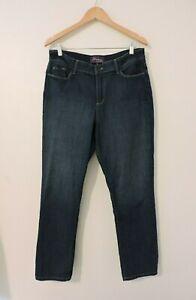 NYDJ-Women-039-s-Blue-Jeans-Cotton-Stretch-Denim-Straight-Leg-Dark-Wash-Size-14