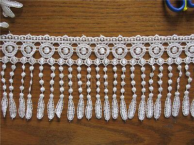 Vintage Pretty White Flower Fringe Lace Edge Trim Curtain Applique Sewing Craft