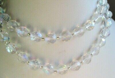 Prezzo Basso Beau Collier Couleur Argent Perles De Cristal à Facettes Bijou Vintage 5265