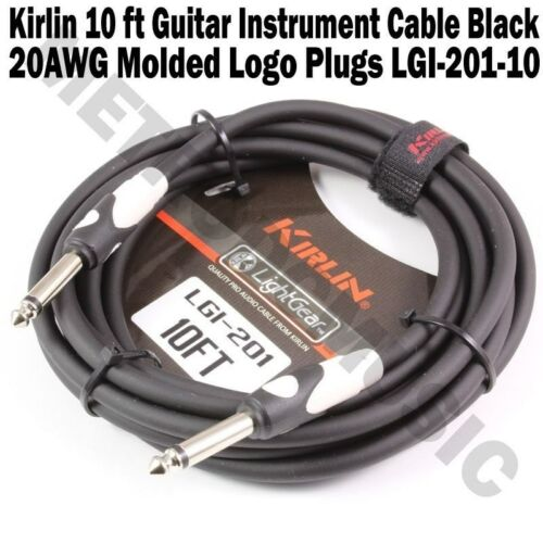 """10-Pack Kirlin 10 ft Guitar Instrument Patch Cable Cord Free Velcro Tie 1//4/"""" NEW"""