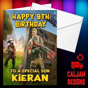 Image Is Loading Fortnite Birthday Card Personalised Son Grandson Nephew Daughter