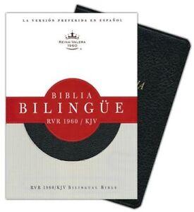 Biblia-Bilingue-RVR-1960-KJV-Piel-Fab-Negro-Ind-RVR-1960-KJV-Bilingual