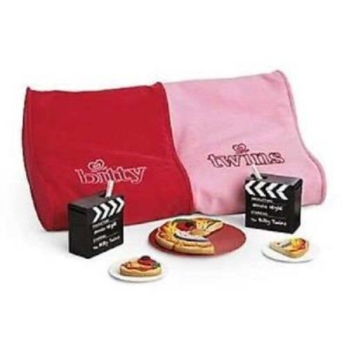 NEW American Girl Bitty Baby Twins MOVIE CHAIR and SNACK SET NIB COMPLETE