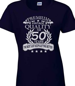 Image Is Loading Ladies Womens 50th Birthday T Shirt Quality Celebration