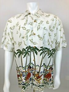 NWT-Quiksilver-Men-039-s-Button-Down-Shirt-Large-Hawaiian-Shirts-Casual-Beach-White