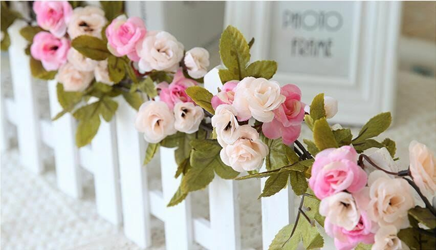 Shabby chic rose garland flower vintage style 7ft wedding string this pale pink flower garland will look great whatever time of the year although care should be taken when used outside as this garland is not water mightylinksfo