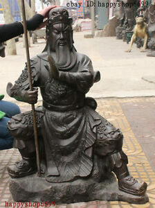 32-China-Bronze-Dragon-Guan-Gong-Yu-Warrior-God-Sword-Knight-Ride-Stone-Statue