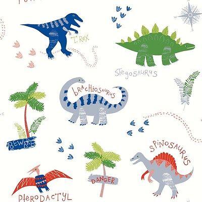 Dino Doodles Vibrant Dinosaur Wallpaper - 10m Roll - Kids Fun Wallpaper Design