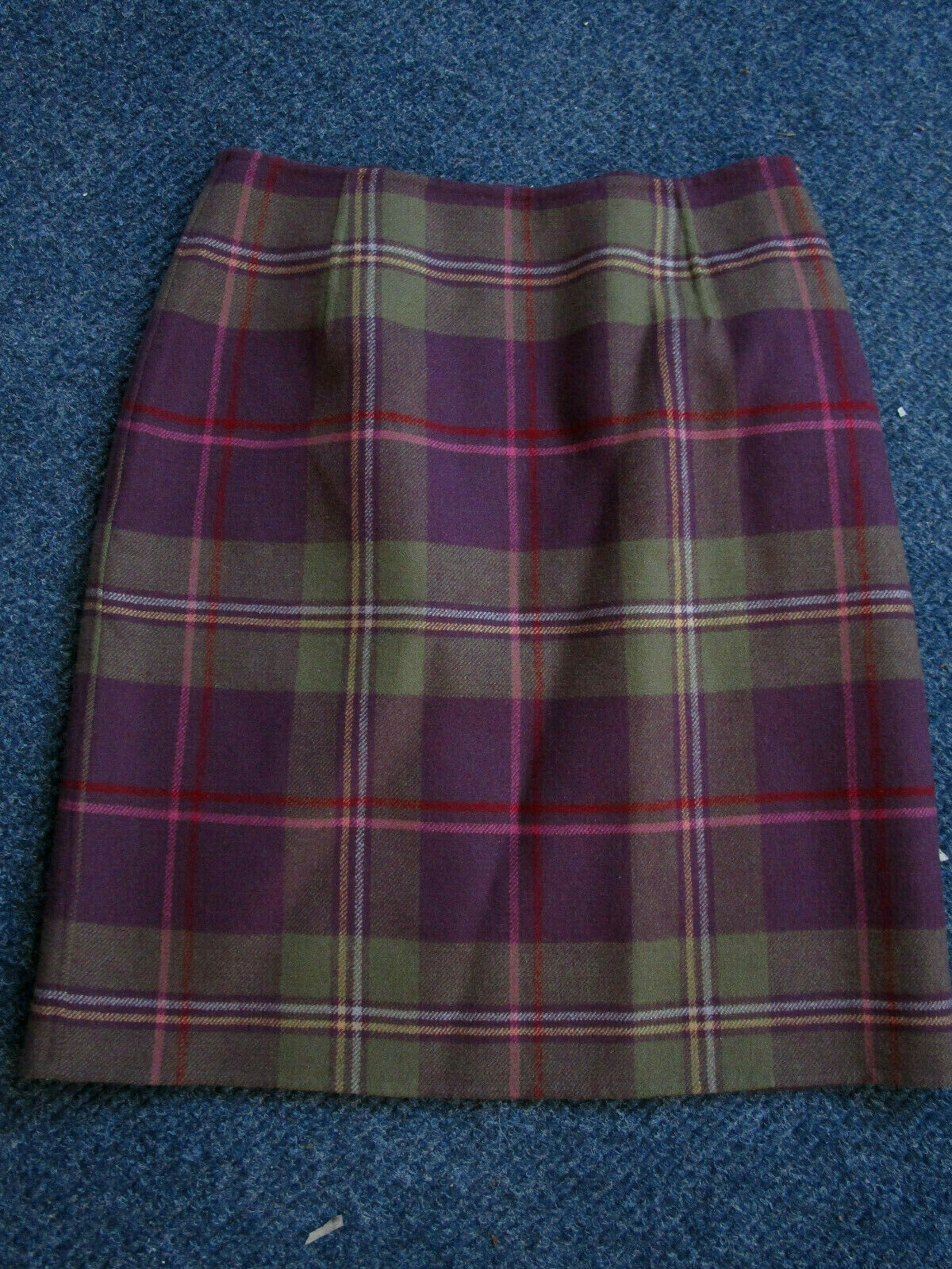 Pendleton 100% Virgin Wool Celtic Purple Green Plaid Fitted Secretary Skirt 8