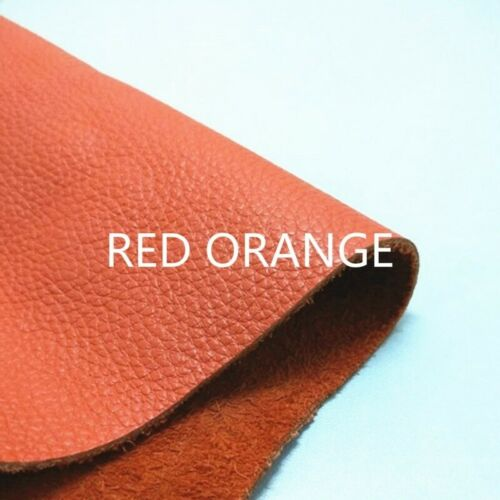 Real Genuine Leather Fabric First Layer Cowhide Hide Cut Orange Scrap Material