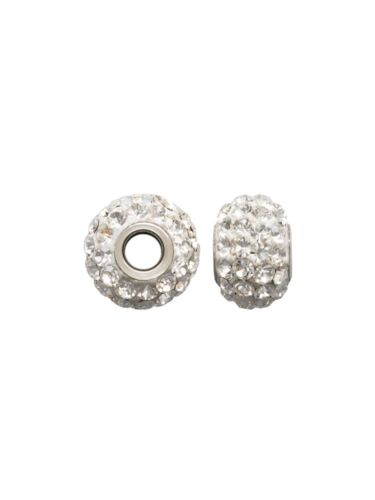 Sterling Silver 8x5.5mm Crystal Spacer Bead fit European Charm Style #ES521