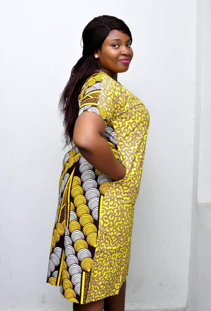 Ankara Yellow and brown ankara african print shift dress Bling