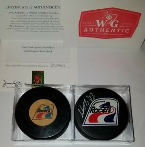 WAYNE-GRETZKY-HOF-SIGNED-RACERS-PUCK-WG-COA-amp-CONVERSE-art-ross-WHA-game-R-LOT