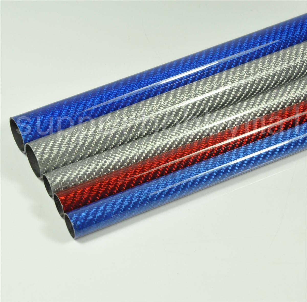 4 Pcs 16181000mm rollo rollo rollo de tubo de fibra de carbono 3K brillante Tubos Colors múltiples  caliente