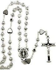 NEW BEAUTIFUL MADE IN ITALY HEART BEAD ROSARY SILVER & HEMATITE MIRACULOUS