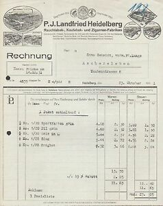 heidelberg rechnung 1931 tabak u zigarren fabriken p j landfried ebay. Black Bedroom Furniture Sets. Home Design Ideas