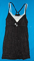WOMENS Crinkle Double Layer Cami Tank Top Shirt Smock BLACK White Medium 8-10