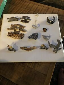LOT-OF-Harley-Davidson-1-Indian-4-Eagle-Pins-Ride-Motorcycles-Vintage