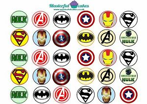 WAFER 24 PERSONALISED AVENGERS INFINITY CUPCAKE TOPPER RICE ICING PRECUT WAFER
