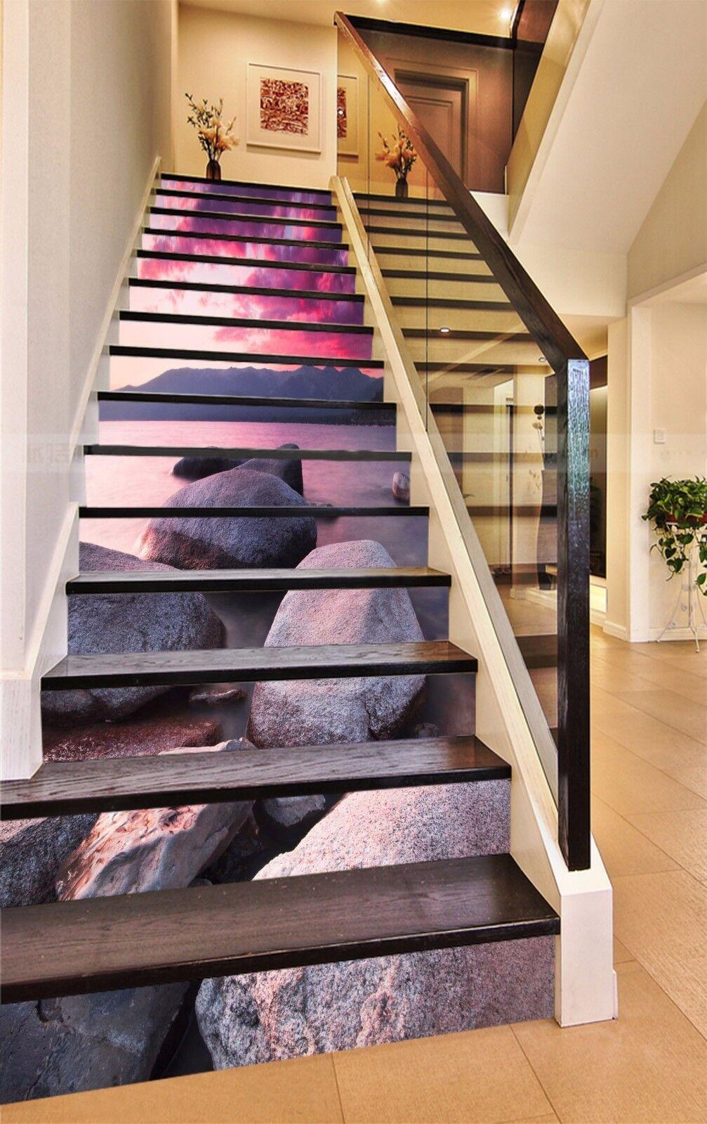 3D Stein Meer 7758 Stair Risers Dekoration Fototapete Vinyl Aufkleber Tapete DE