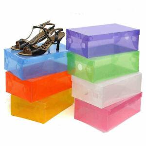 Household-Stackable-Foldable-Transparent-Plastic-Shoe-Storage-Boxes-Organiser