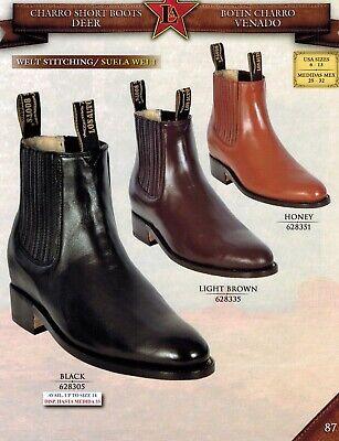 Los Altos Men/'s Charro Deer Welt Stitching Pull Up Western Short Boots