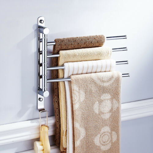 Wall Mounted Stainless Towel Rail Rack Holder Swivel Bars W// Hook 4 arms SLV