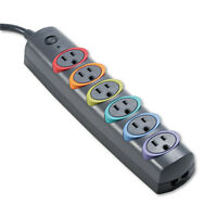 Kensington Smartsockets Color-coded Strip Surge Protector 6 Outlets 6 Ft Cord