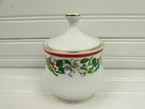 St-Maria-by-Lynn-039-s-China-Sugar-Bowl-Christmas-Holly-amp-Berry-Red-Band-Gold-Trim