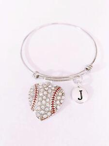 Baseball-Bangle-Charm-Bracelet-Initial-Softball-Sports-Mom-Expandable-Jewelry