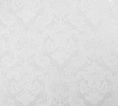 5006-10-27) 1 Rolle Vinyltapete  BAROCK ORNAMENT Design Tapete weiß mit Glanz